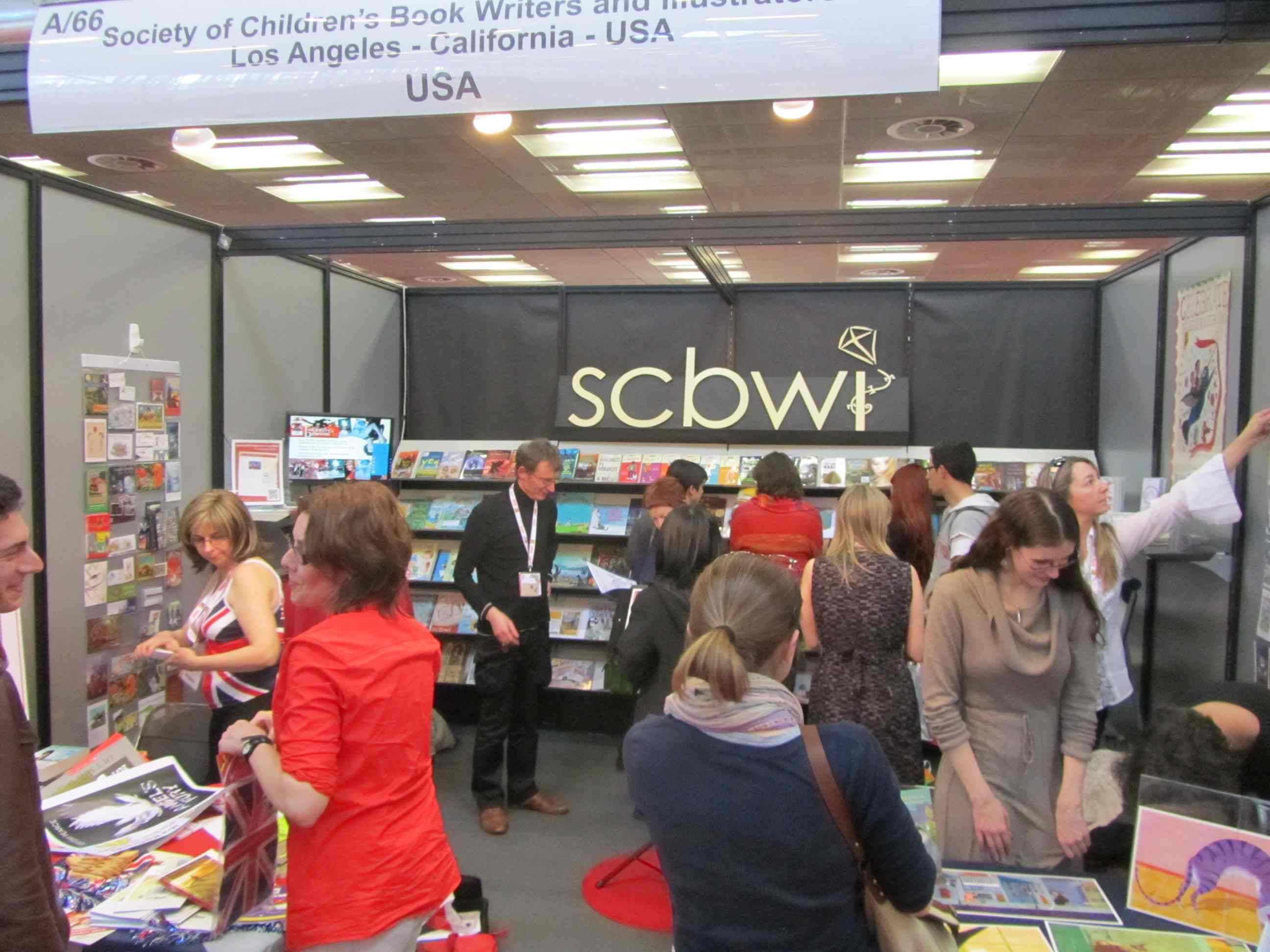 the SCBWI Booth in action ... books, showcases, and a whole lot more.